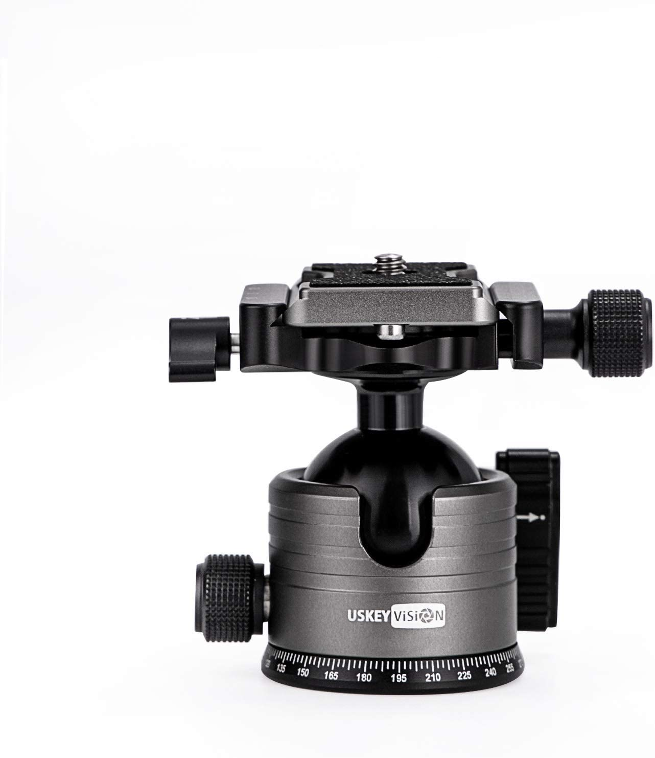 USKEYVISION Tripod Head - The Metal Tripod Ball Head 360 Degree Rotating Panoramic with 1/4 inch Quick Shoe Plate (Senior Grey)