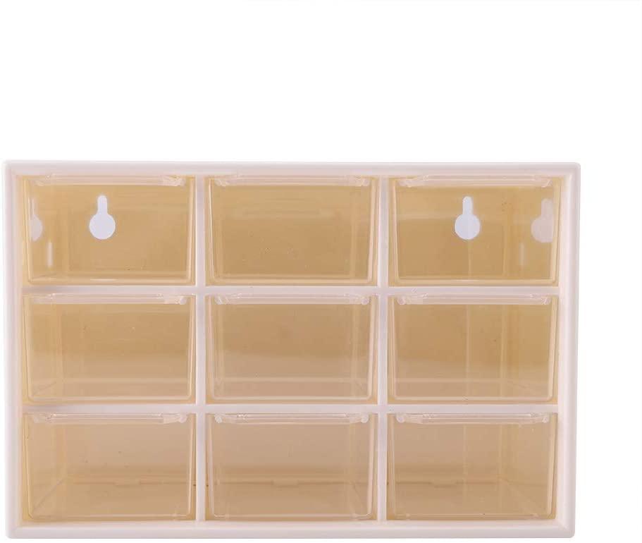 9 Lattice Mini Drawers,Portable Mini Chest Cabinets Jewelry Earring Socks Cosmetic Toys Storage Box - White