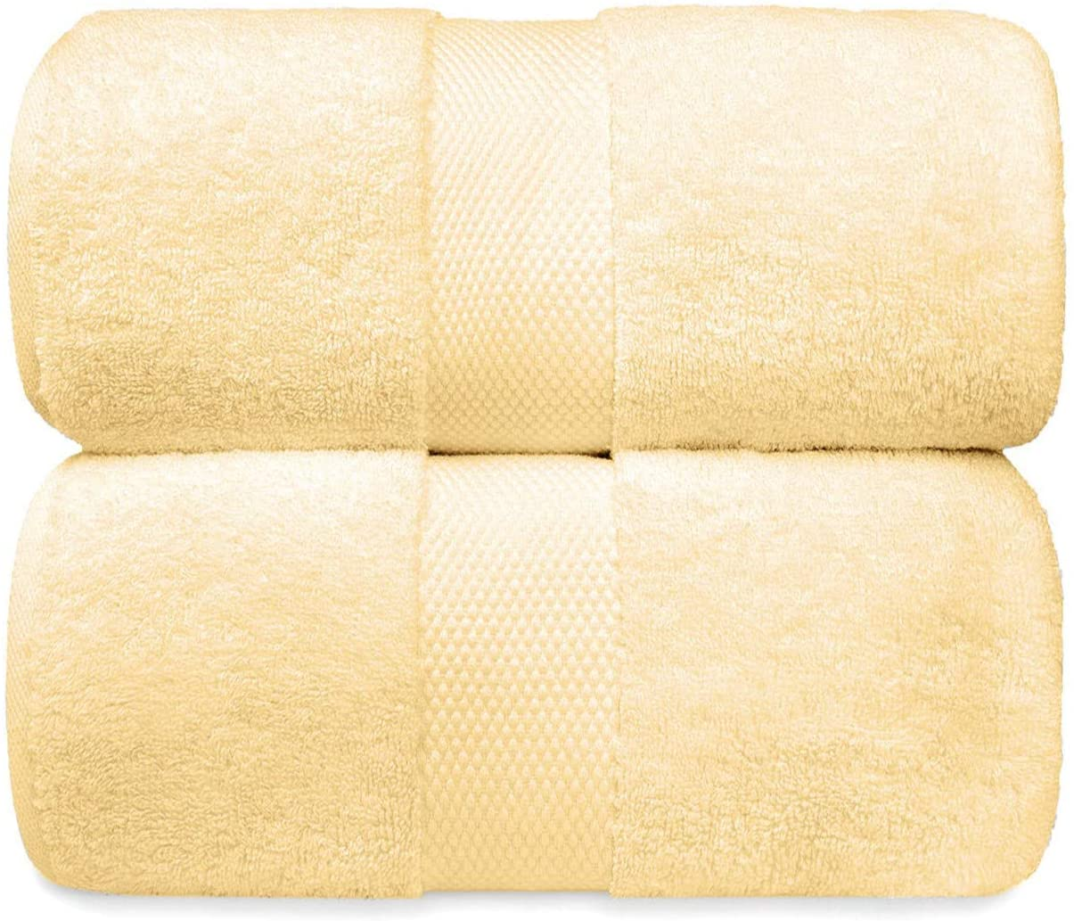 White Classic Luxury Bath Sheet Towels Extra Large | Highly Absorbent Hotel spa Collection Bathroom Towel | 35x70 Inch | 2 Pack (Beige)