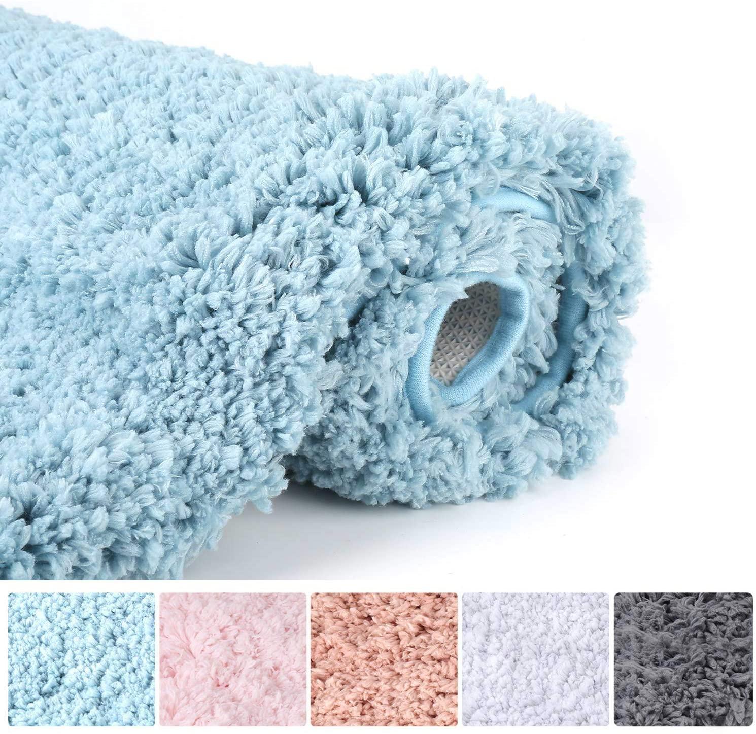 Bathroom Rugs Microfiber Plush Bath Mat Machine Washable, Slip Resistance Rubber and Absorbency Bath Rugs for Bathroom Floor, Door and Sink, Rectangular Floor Mat,Blue,32x 20