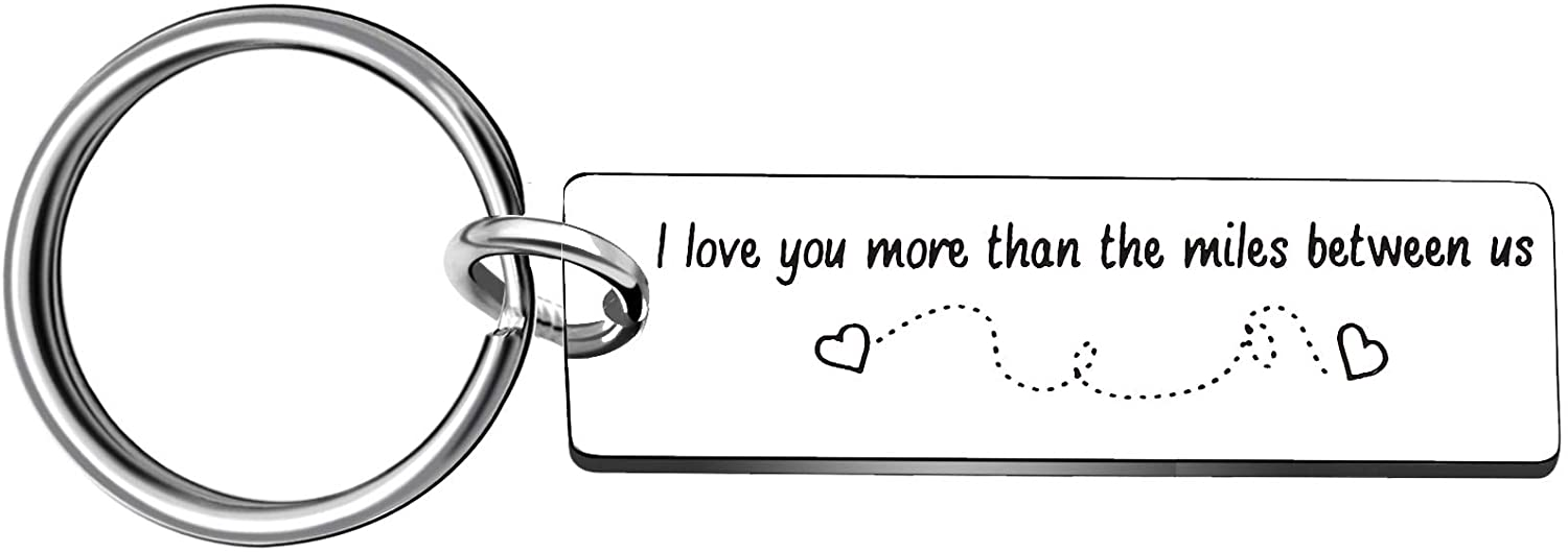 Key Ring Long Distance Relationship Valentine Day Gifts For Boyfriend Girlfriend - I Love You More Than The Miles Between Us