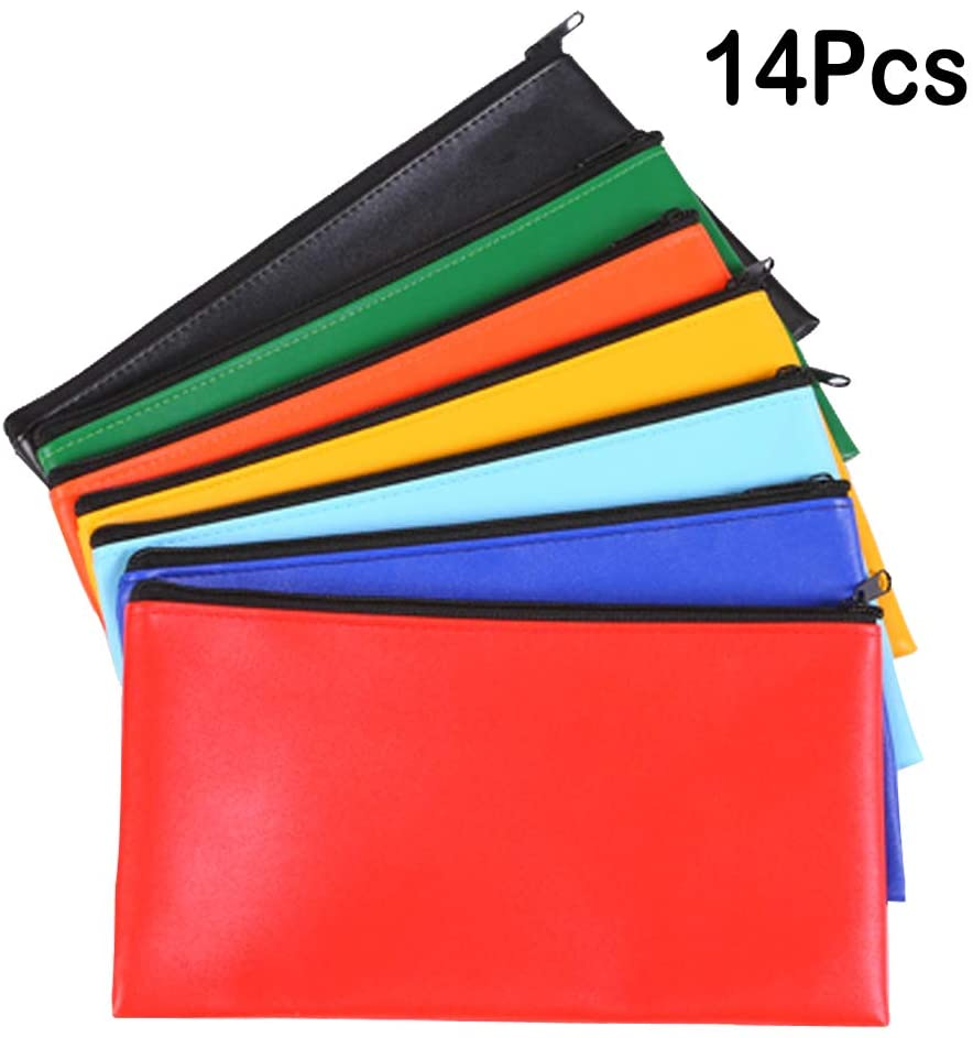 Vankcp 14Pcs Bank Deposit Money Bag, 7 Colors Deposit Zippered Coin Bag 11'' x 6.3'' Waterproof Colorful Leatherette Cash Bag for Office Travel School Home Magician