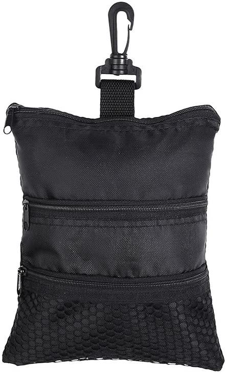 VGEBY1 Golf Ball Bag, Black Multi-Pocket Oxford Golf Accessories Hand Bag for Ball Tee