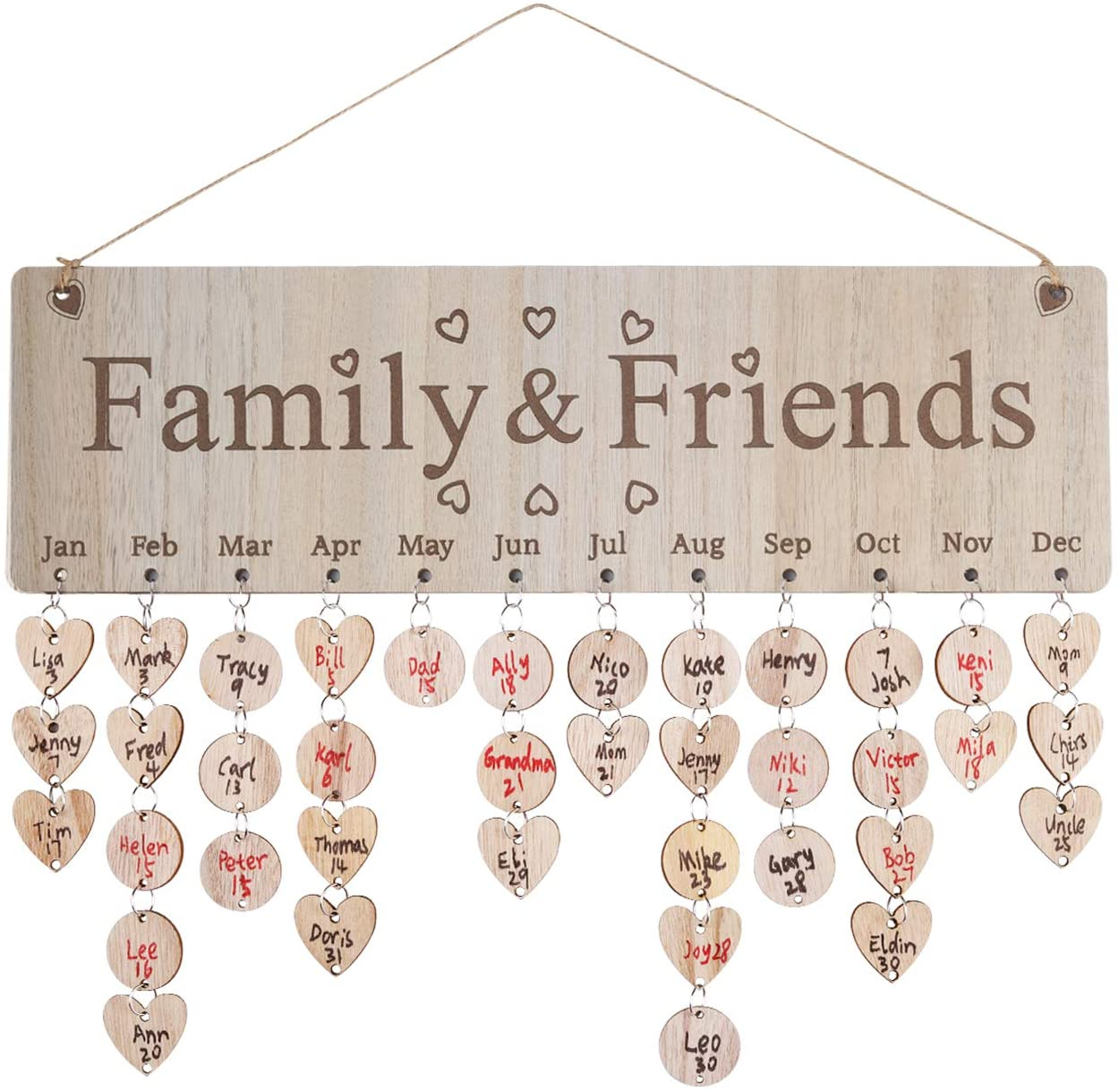 Joy-Leo Gifts for Mom Dad - Wooden Family Birthday Reminder Calendar Board [100 Wood Tags with Holes, Family & Friends with Hearts Pattern], Decorative Birthday Tracker Plaque Wall Hanging