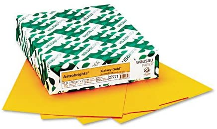 Wausau Paper : Astrobrights Colored Card Stock, 65lb, Galaxy Gold, Letter, 250 Sheets per Pack -:- Sold as 2 Packs of - 250 - / - Total of 500 Each