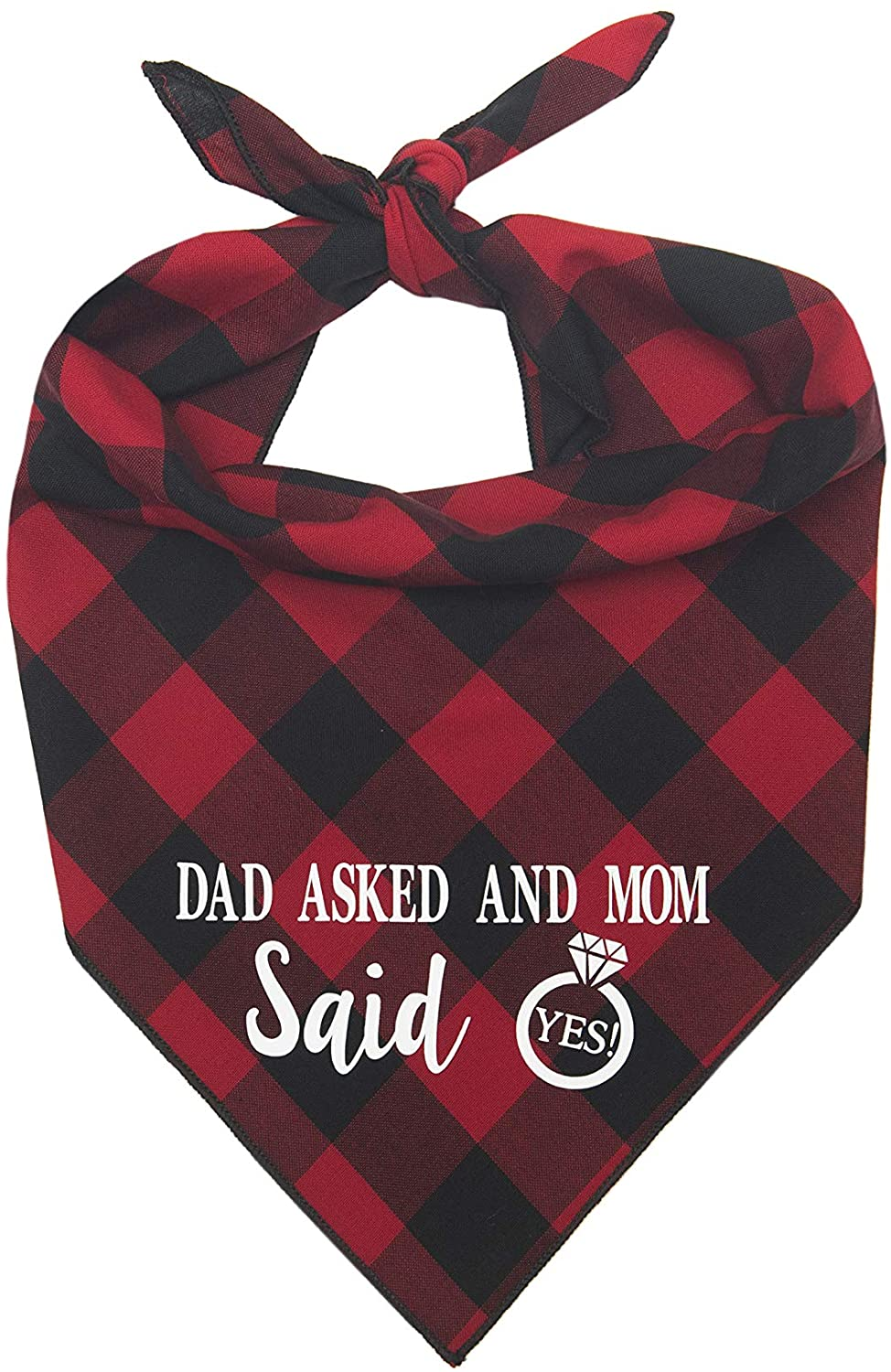 Willowear Dad Asked and Mom Said Yes Wedding Engagement Photos Bridal Shower Gift Puppy Dog Pet Bandanas