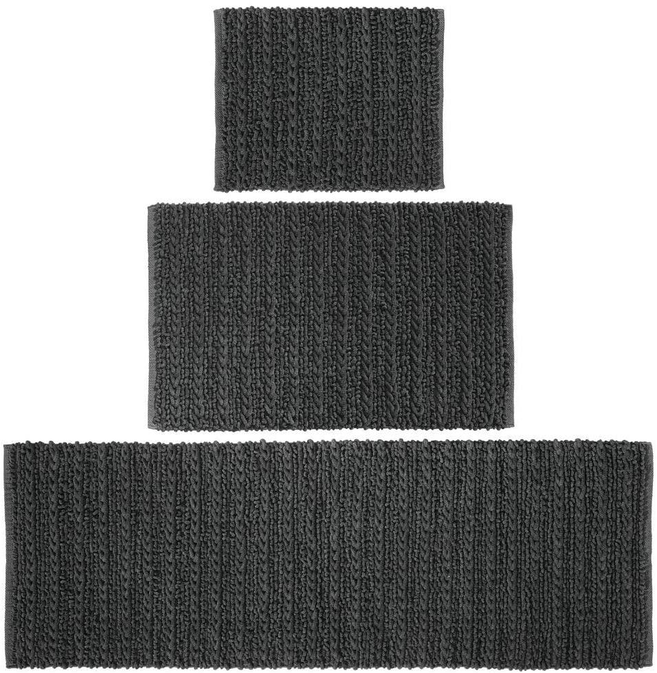 mDesign 100% Cotton Luxury Rectangular Spa Mat Rugs, Plush Water Absorbent - for Bathroom Vanity, Bathtub/Shower, Machine Washable - Braided Design - Runner, Standard & Small Rug, Set of 3 - Black