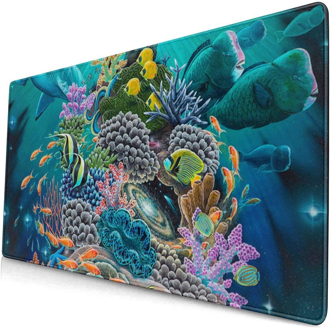 Large Size Mouse pad Anti-Slip Desk Mouse Mat Desk Protector Mat (Ocean Good Luck Turtle Hammerhead Sharks)