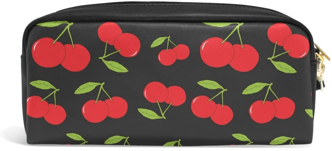 ABLINK Stylish Red Cherry with Leaves Pencil Pen Case Pouch Bag with Zipper for Travel, School, Small Cosmetic Bag