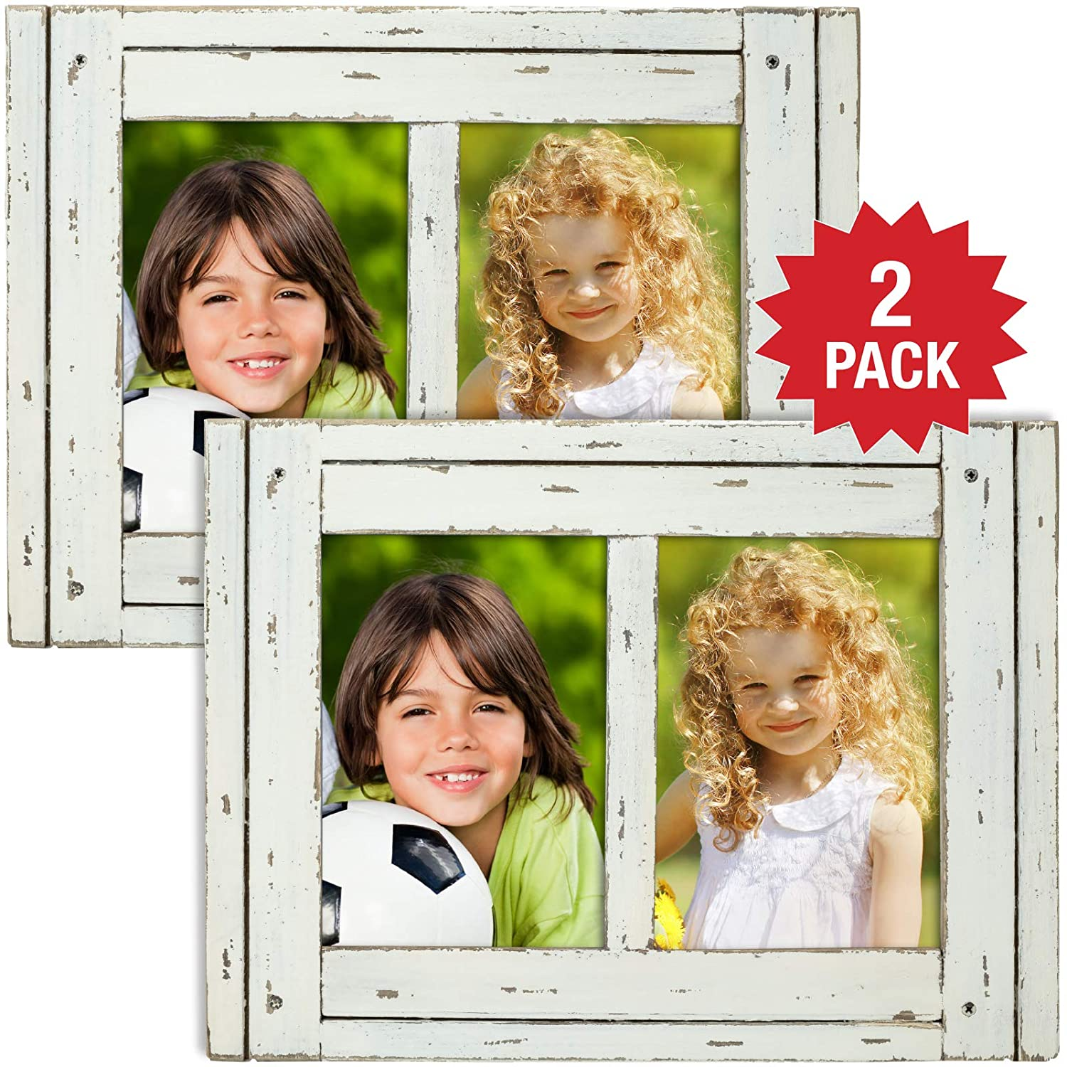 Excello Global Products Rustic Shabby Chic White Weathered Distressed Vintage Style Wooden Picture Frame with Self-Stand Easel, Each Frame Holds Two 5