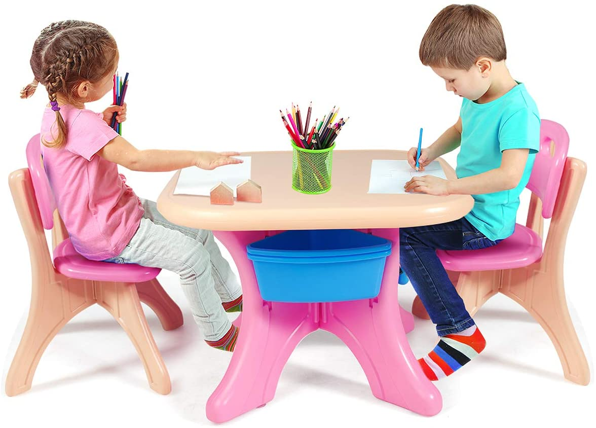 HONEY JOY Kids Table and Chair Set, 3 Piece Activity Table and 2 Chair Set W/Storage Bins, Children Art Crafts Table Desk Set for Reading Homeschooling Dining, Playroom Plastic Furniture (Pink)