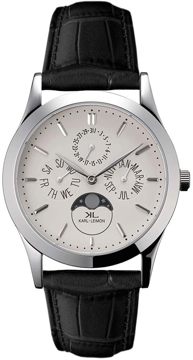 KARL-LEIMON Japanese Moonphase Watch Classic Pioneer White