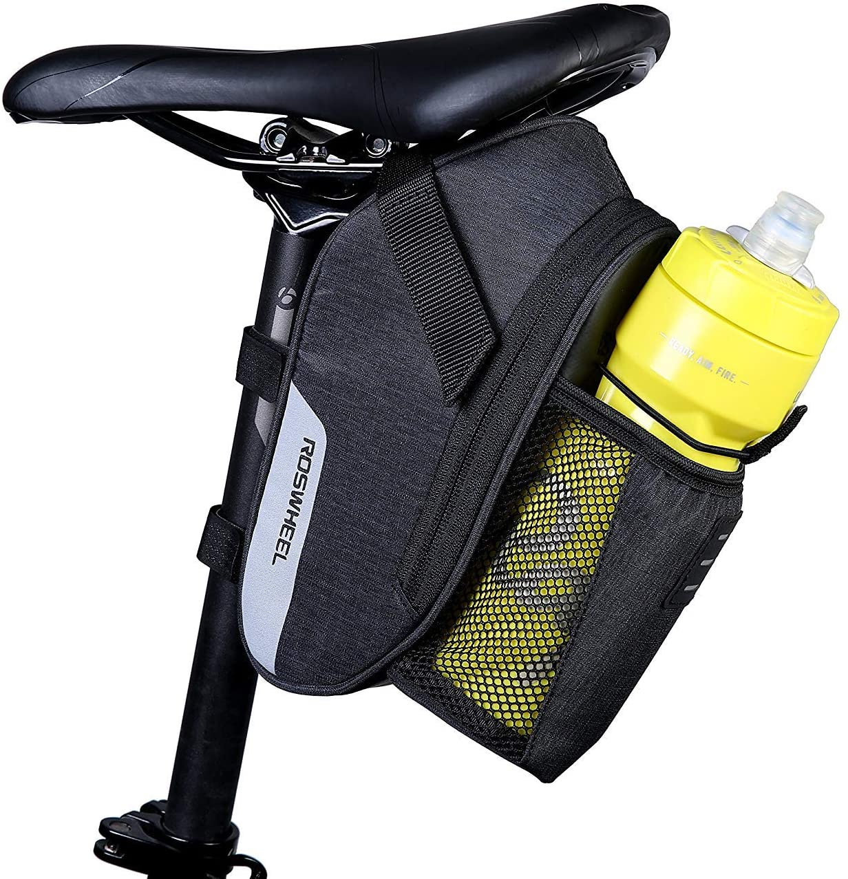 Roswheel Essentials Series 131464 Water Resistant Bike Saddle Bag Bicycle Under Seat Pack Cycling Accessories Pouch with Water Bottle Holder