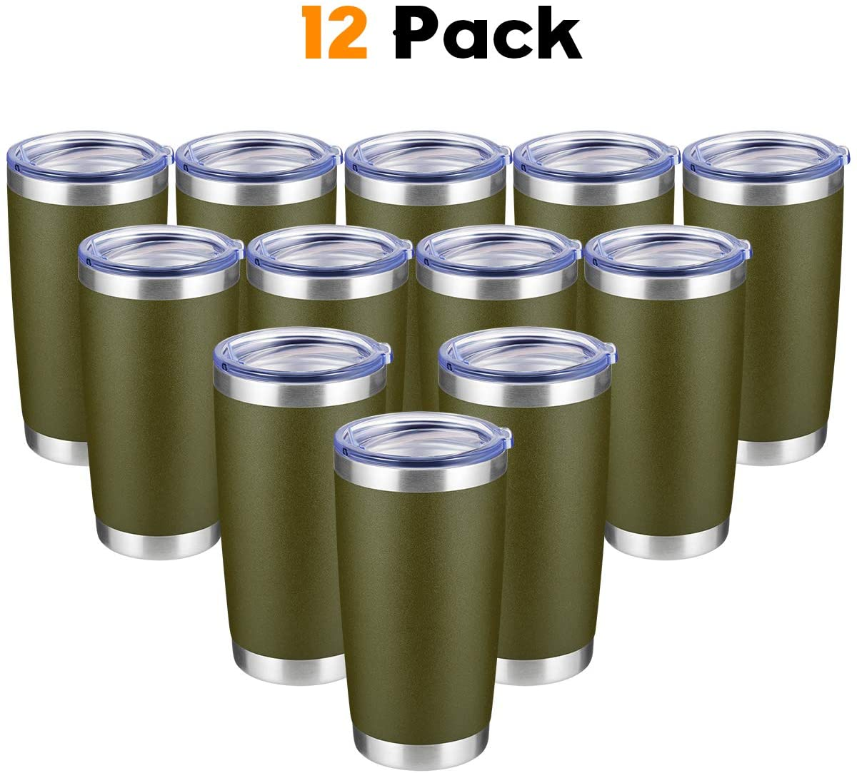 COKTIK 20oz Tumbler 12 Pack Double Wall Vacuum Insulated Travel Mug Bulk, Stainless Steel Tumblers with Lid and Straw, Durable Powder Coated Coffee Cups for Cold & Hot Drinks