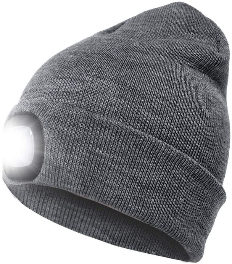 Kllarmant LED Beanie Hat with Light,USB Rechargeable Handsfree Headlamps Beanie Cap,Unisex Warmer Knit Hat for Outdoor,Indoor,Walking,Running,Auto Repairing-Gray