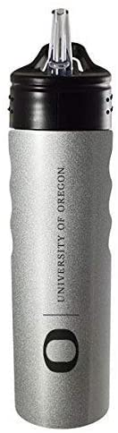 LXG, Inc. University of Oregon-24oz. Stainless Steel Grip Water Bottle with Straw-Silver