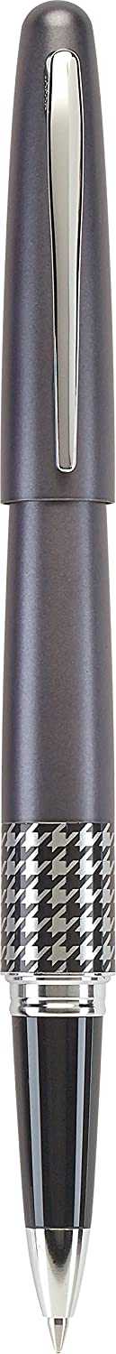 PILOT MR Retro Pop Collection Gel Roller Pen in Gift Box, Gray Barrel with Houndstooth Accent, Fine Point Stainless Steel Nib, Refillable Black Ink (91405)