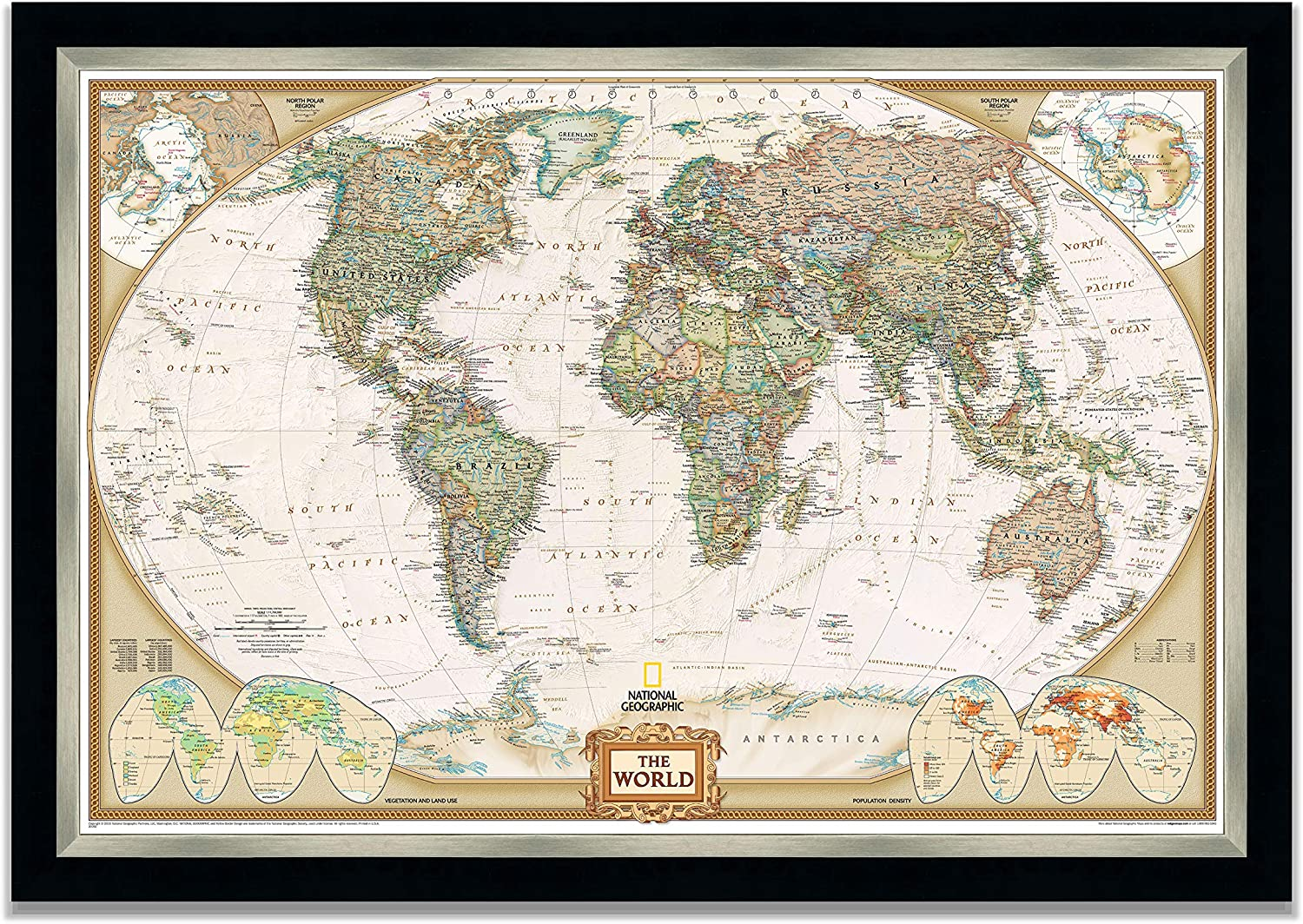 Renditions Gallery Executive National Geographic World Travel Map With Push Pins, Wall Art For Living Room, Bedroom, Office,24x34, Black and Silver