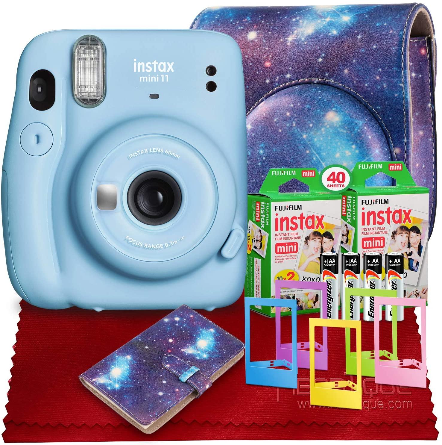 PS FUJIFILM INSTAX Mini 11 Instant Film Camera (Sky Blue) with Fujifilm Instax Mini Twin Film (40 Exposures), Accessory Case, and Accessories Bundle
