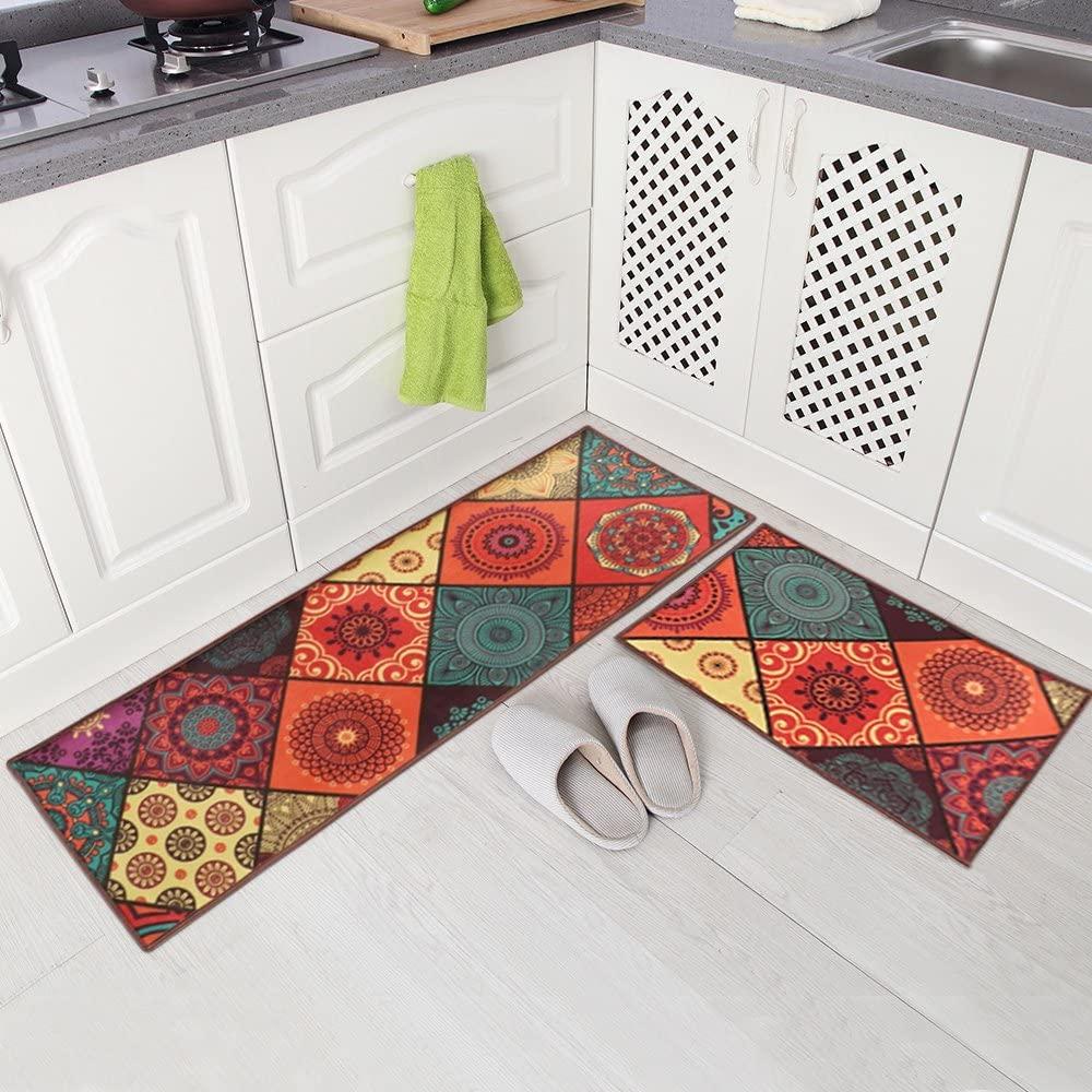 Carvapet 2 Piece Non-Slip Kitchen Mat Runner Rug Set Doormat Vintage Design Boho Style,Square (15