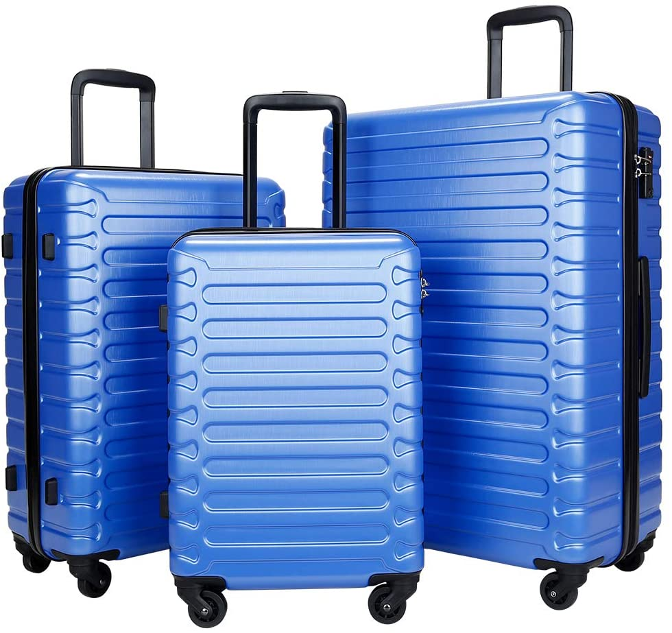 SHOWKOO 3 Piece Luggage Sets Expandable ABS Hardshell Hardside Lightweight Durable Spinner Wheels Suitcase with TSA Lock (Blue)