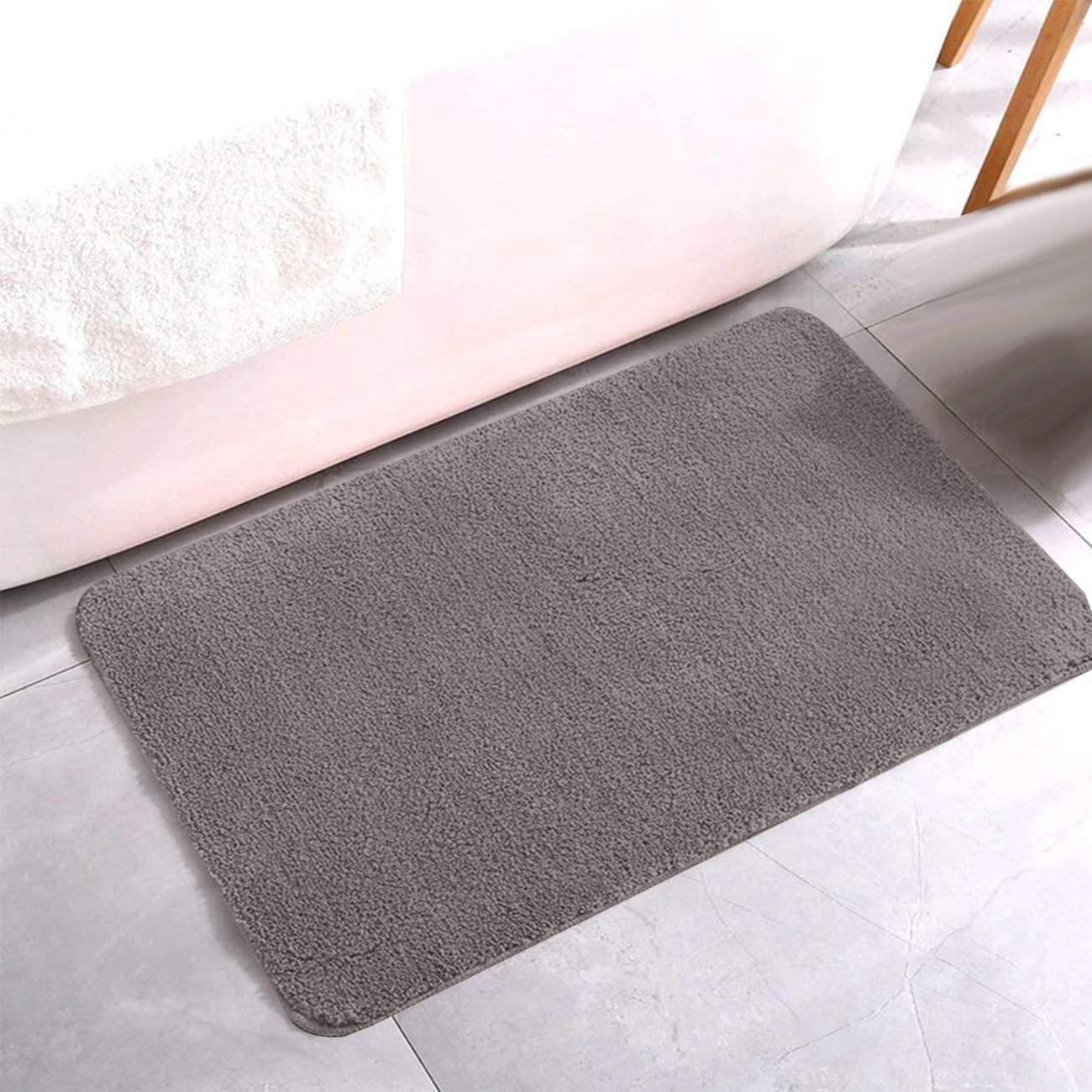 Lasten Non Slip Bath Mat, Bathroom Rug Carpet with Water Absorbent Soft Microfibers (35'' X 23'', Gray)