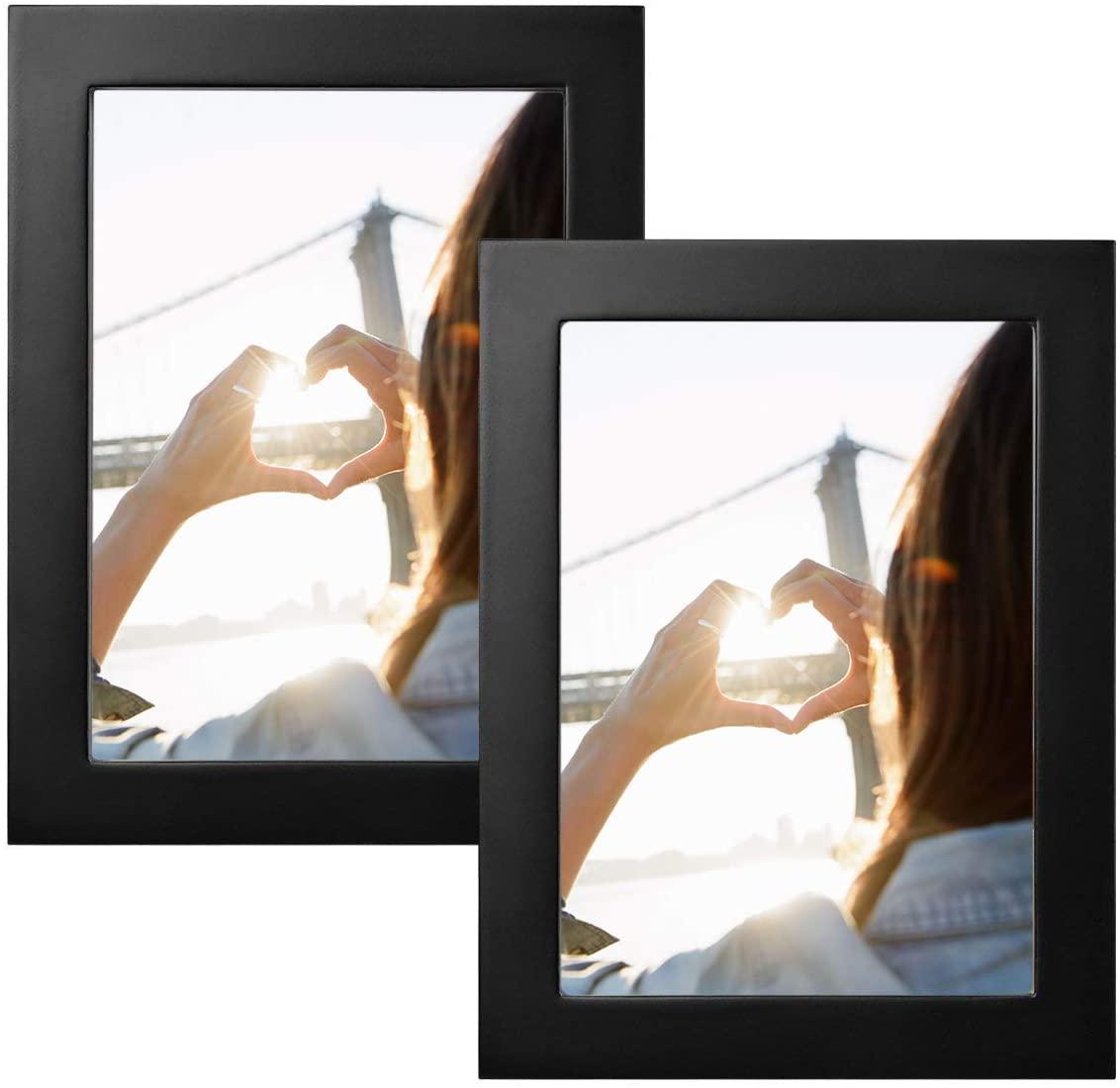 Klinsten 8x10 Picture Frame Elegant and Nice Design Black Wood 8x10 Photo Display Photo Frame for Desk or Wall 2 Pack