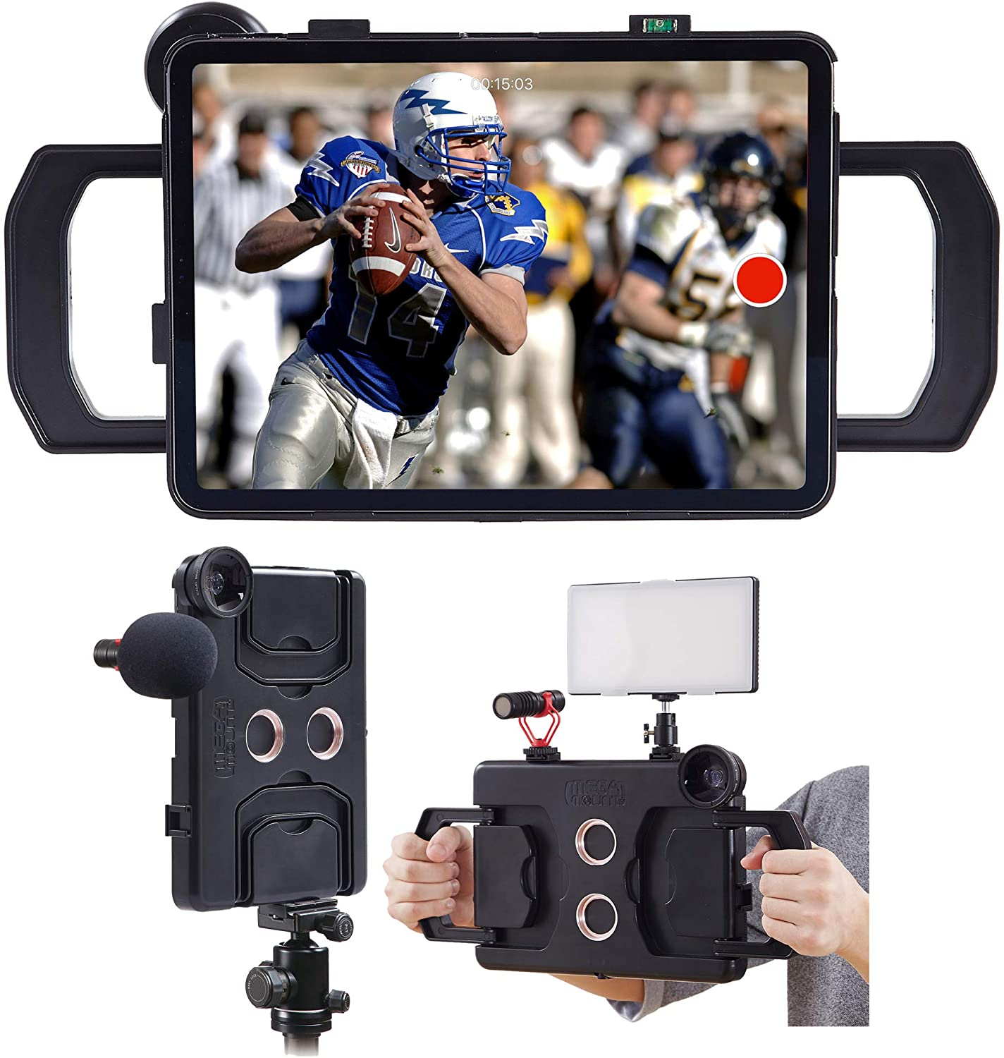 MegaMount Multimedia Rig Case Video Stabilizer for Apple iPad 10.2 inch [Current 7th Gen Only] Easily Attach Lenses, Lights, Microphones. Great for Live Conferencing, Video Recording, Mounts on Tripod