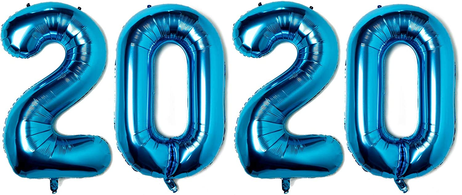 Seven Shop 40 inches Number Balloons Blue Number 2020 Helium Foil Birthday Party Decorations Digit Balloons