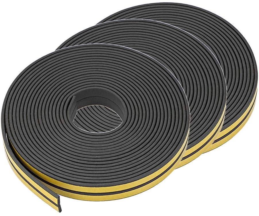 uxcell Foam Tape Adhesive Weather Stripping 9mm Wide 2mm Thick, 5 Meters Long Black, 3Pcs