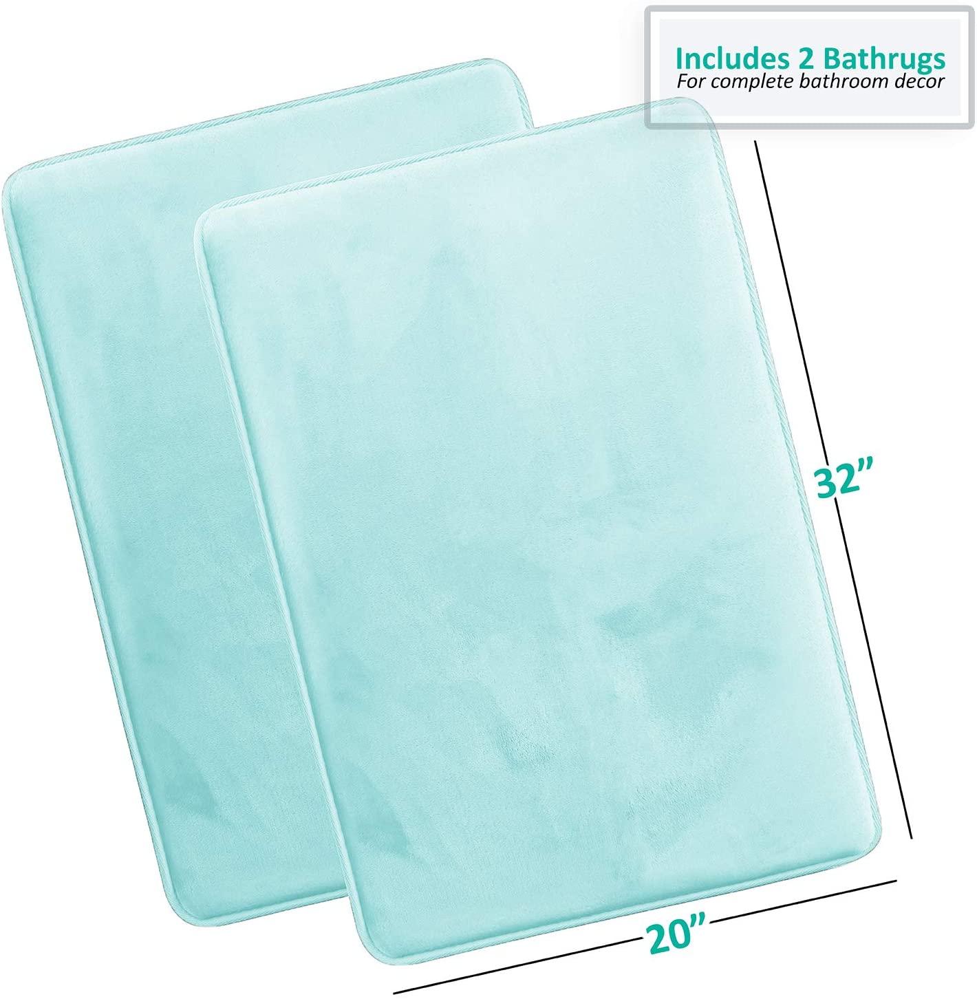 Memory Foam Bathrug 2 Pack Set – Aqua - Bath Mat and Shower Rug Large 20
