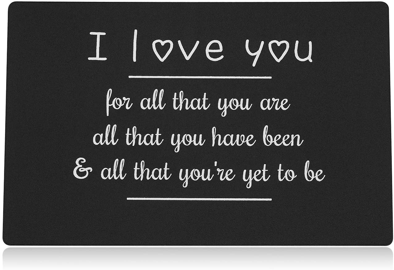 I Love You Wallet Insert Gift for Boyfriend Husband Men, Black Mini Love Note from Girlfriend Wife Women, Metal Wallet Card for Anniversary Valentine's Day Wedding Thanksgiving Day by Vallgox