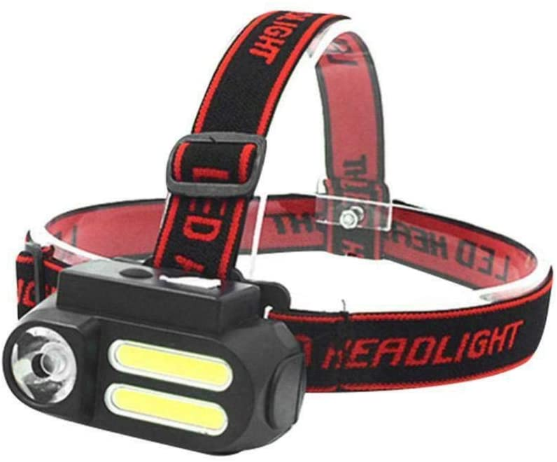 USB Headlamp, LED Headlight 2x COB XPE Micro-USB Rechargeable Headlamp Flashlight Torch,No batteries