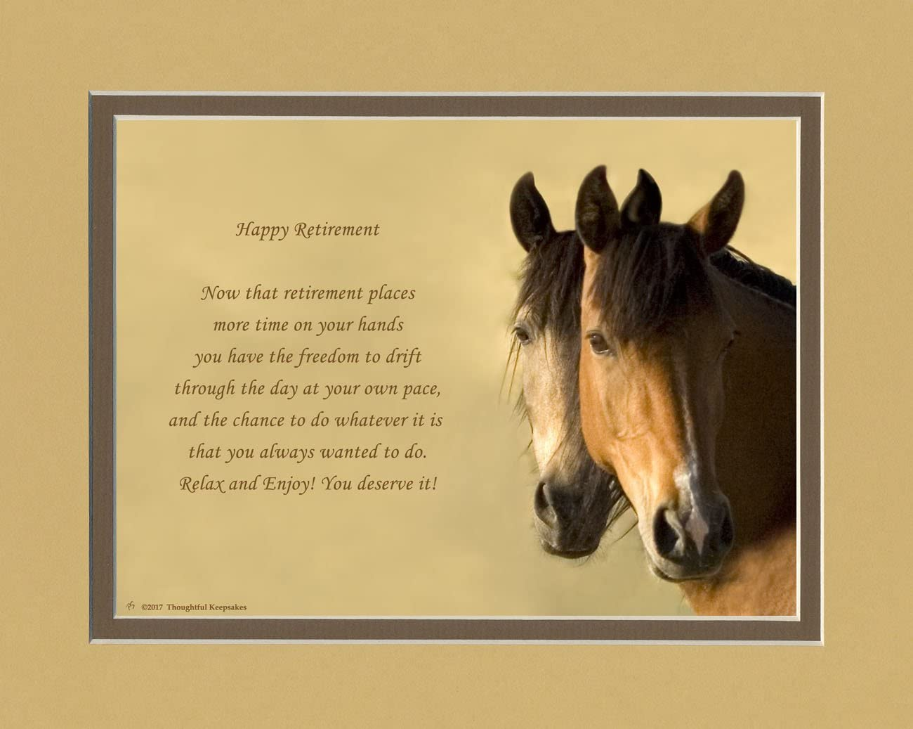 Retirement Gift. Horses Photo with Retiree Best Wishes Poem, 8x10 Double Matted. Unique Retiring Gift for men, women, coworkers, friends or family retirees.