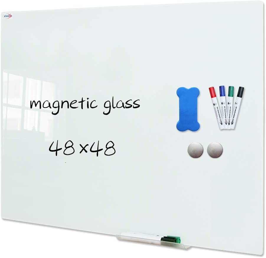 XIWODE Magnetic Glass Dry Erase Board,48 x 48 Inch,Wall Mounted Tempered Glass Whiteboard, Frameless, White Frosted Surface