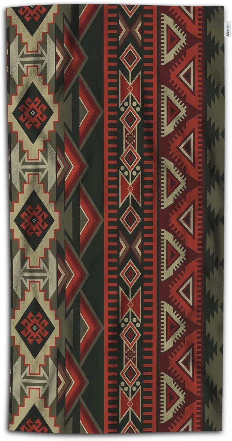 Moslion Aztec Print Bath Towels 64Lx32W Inch Native American Style Decorative Geometric Ornament Tribal Design Bath Hand Towel Decorative Bath Towels Soft Polyester-Microfiber for Bathroom