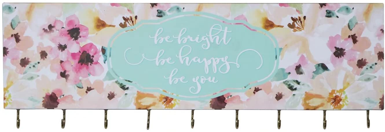 SANY DAYO HOME Jewelry Organizer Wall Mounted Modern Wooden Holder with 9 Hooks and Inspiring Saying for Necklaces, Rings, Earrings, Bracelets and Watches - Be Bright Be Happy Be You
