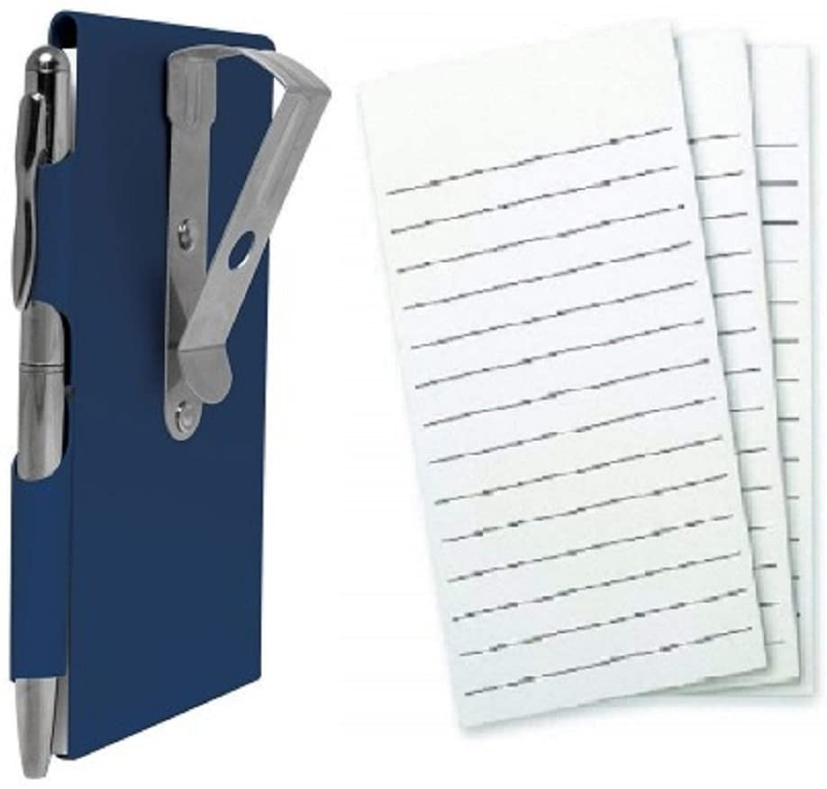 Wellspring Metal Visor Clip Flip Note Case with Pen and 3 Pack Refill, Bundle (Blue)