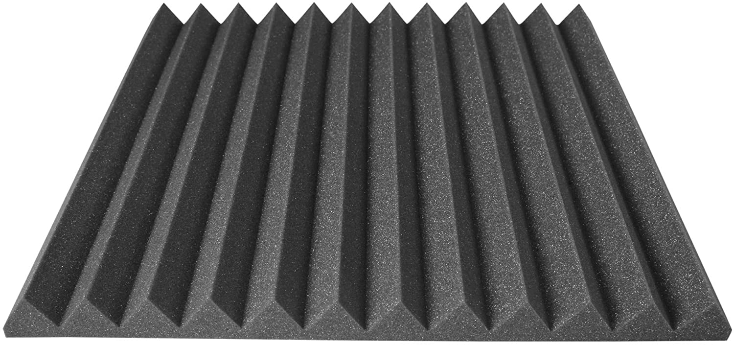 Acoustic Foam Panels 24x24 Inch 12 Pack, 48 Square Feet, Used For Recording Studio Sound Reduction, Wedge Style Soundproofing Tiles, 48 Sq Ft (2 Inch Thick, Charcoal)