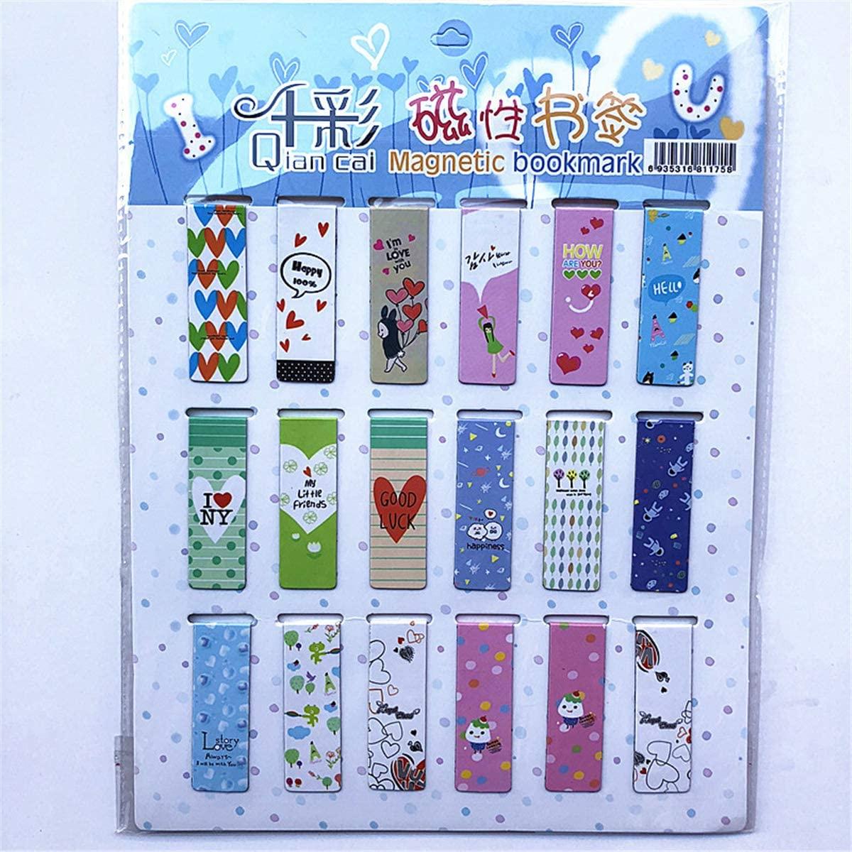 minansostey 18pcs Kawaii Cartoon Novelty School Bookmark,Stationery Supplies Fridge Sticker