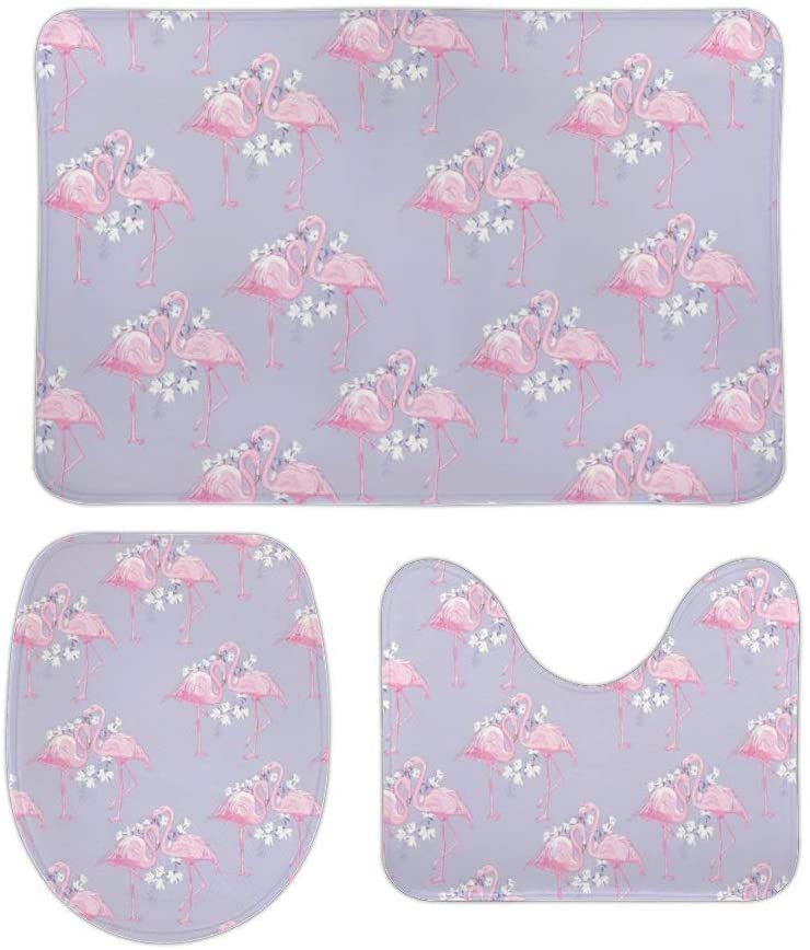 Pink Cute Flamingo Bath Rugs Non-Slip Mat Set Extra Thick Super Soft Absorbent Plush Durable Cozy Flannel Washable Carpet for Tub Toilet Shower Bathroom Room Kitchen 16x24 in