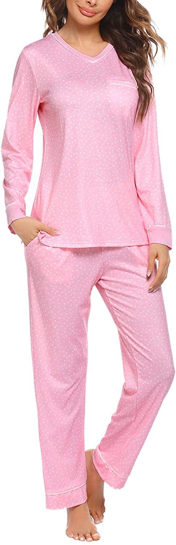 Ekouaer Womens Pajamas Set Long Sleeve Sleepwear V Neck Nightwear Soft Pj Lounge Sets S-XXL