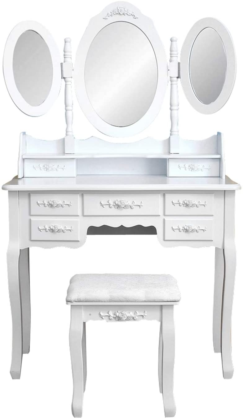 Foldable 3 Mirrors with 7 Drawers Dressing Table White,This is A Very Fashion, Modern and Simple Dressing Table