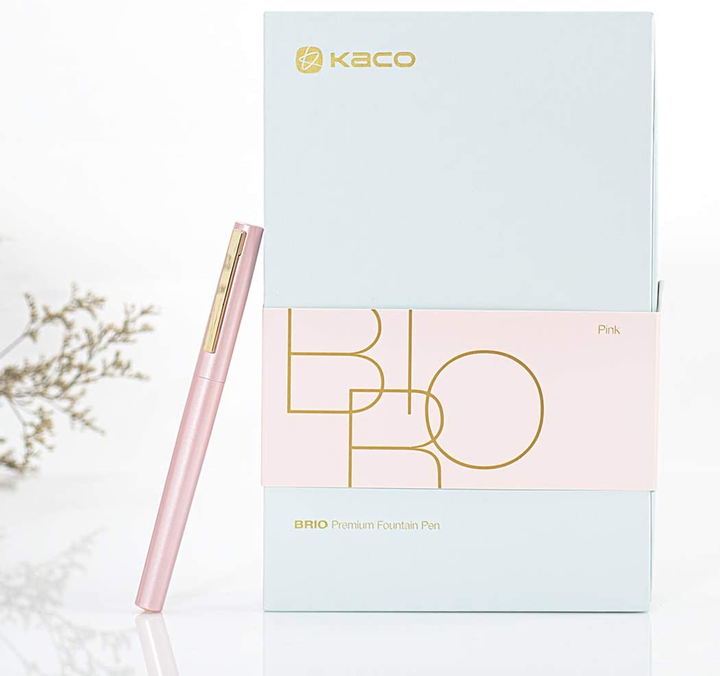 KACO BRIO Fountain Pen Brass Metal Pen Includes Gift Box and Ink Refill Converter EF Nib (Pink)