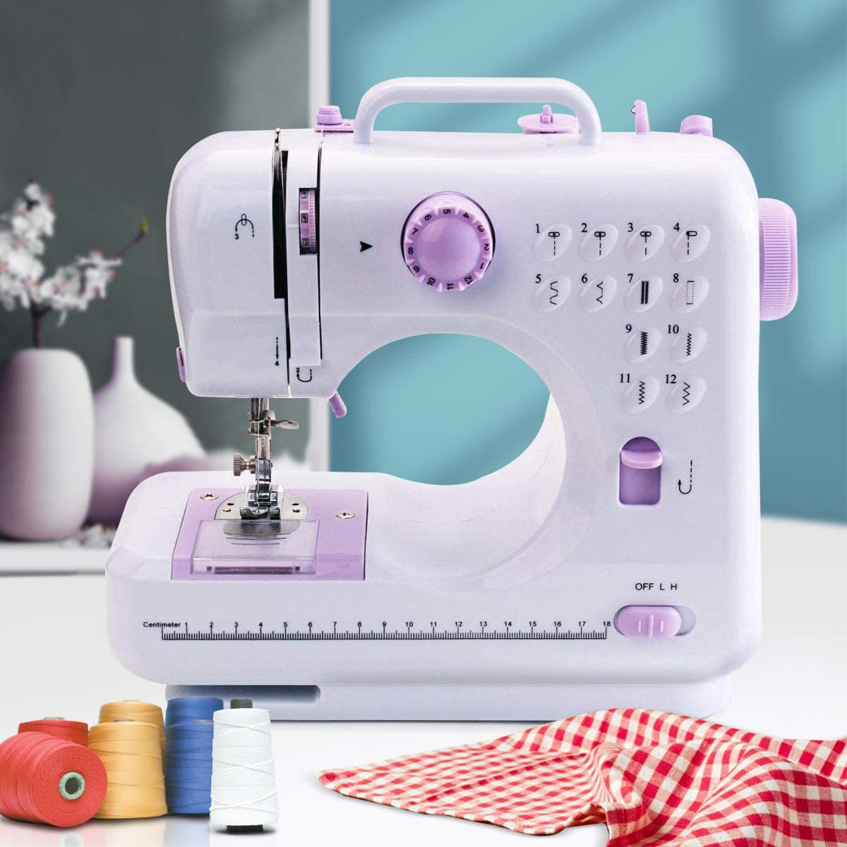 Portable Mini Sewing Machine Multifunction Electric Household Sewing Machine Tool for Adult Beginners With 12 Built-in Stitches, 2 Speeds Double Thread, LED Light, Thread Cutter and Foot Pedal