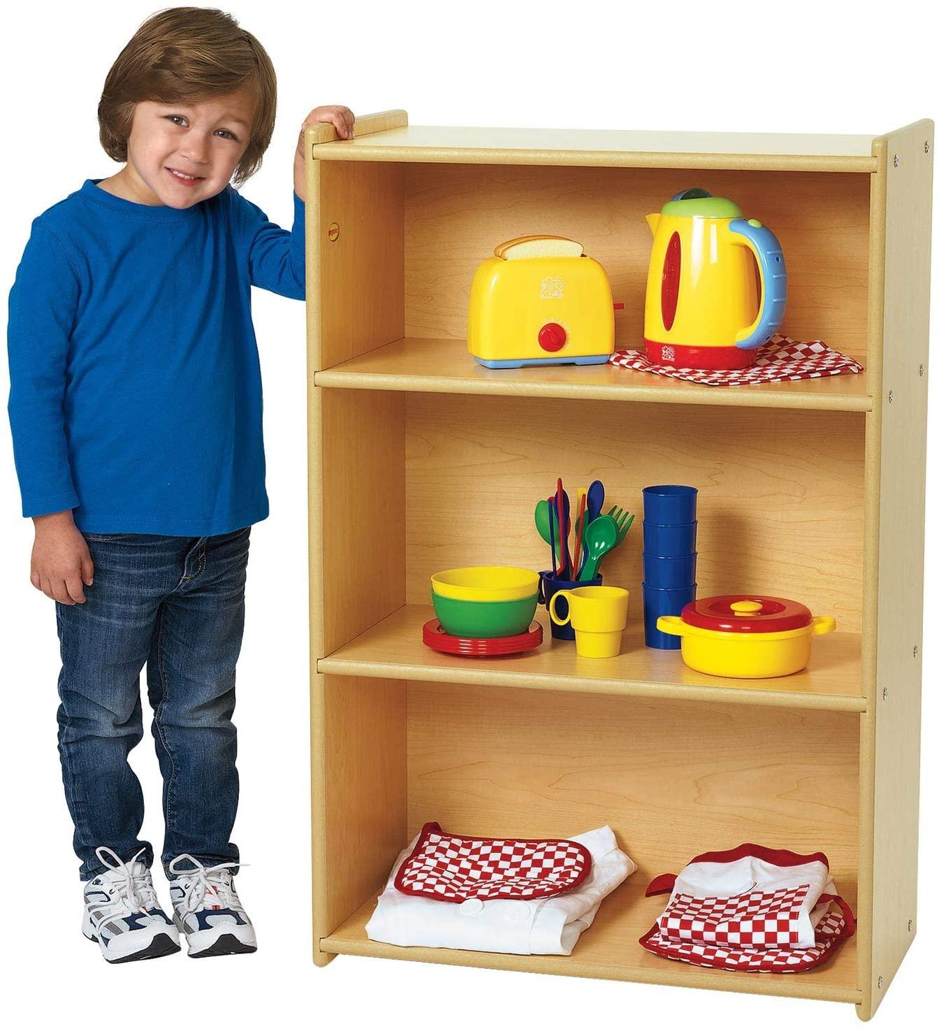 Children's Factory Angeles Value Line Narrow 3-Shelf Storage, Daycare Furniture, Kids/Toddler Bookshelf & Toy Organizer, for Homeschool/Montessori/Playroom/Preschool (ANG7083)