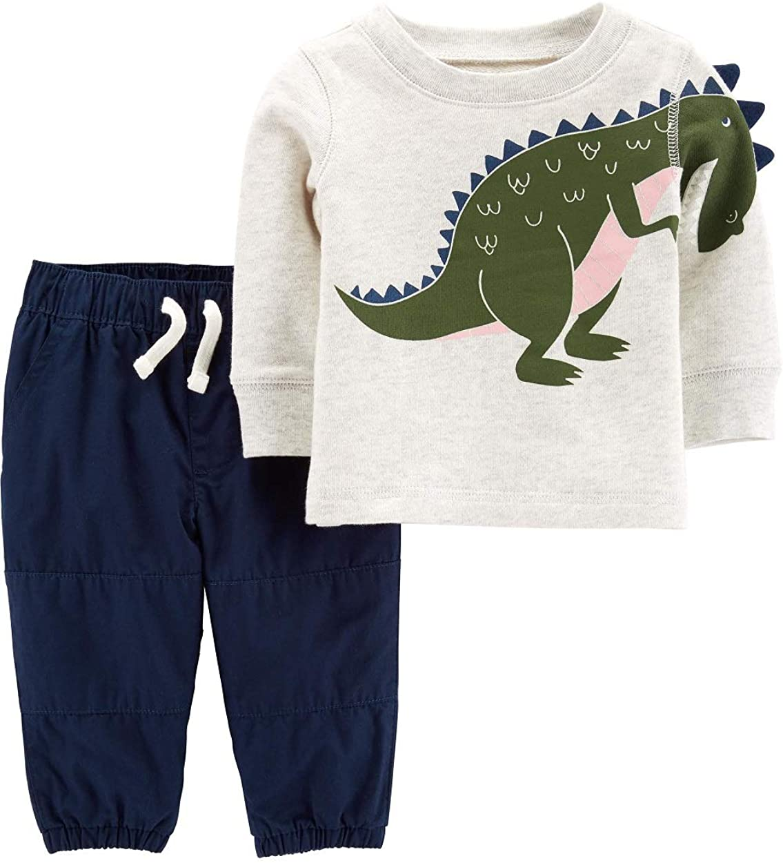 Carter's 2-Piece Dinosaur Top & Poplin Pant Set Size Newborn Heather/Navy