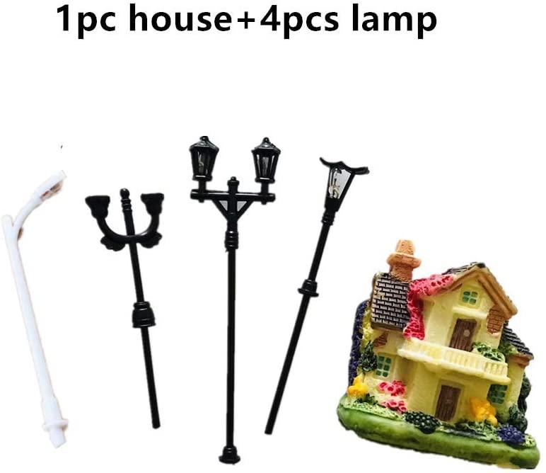ForestBird Miniature Garden Ornaments Accessories, Fairy Garden House kit of 5pcs Figurines(C: 1pc House+4pcs Street Light)