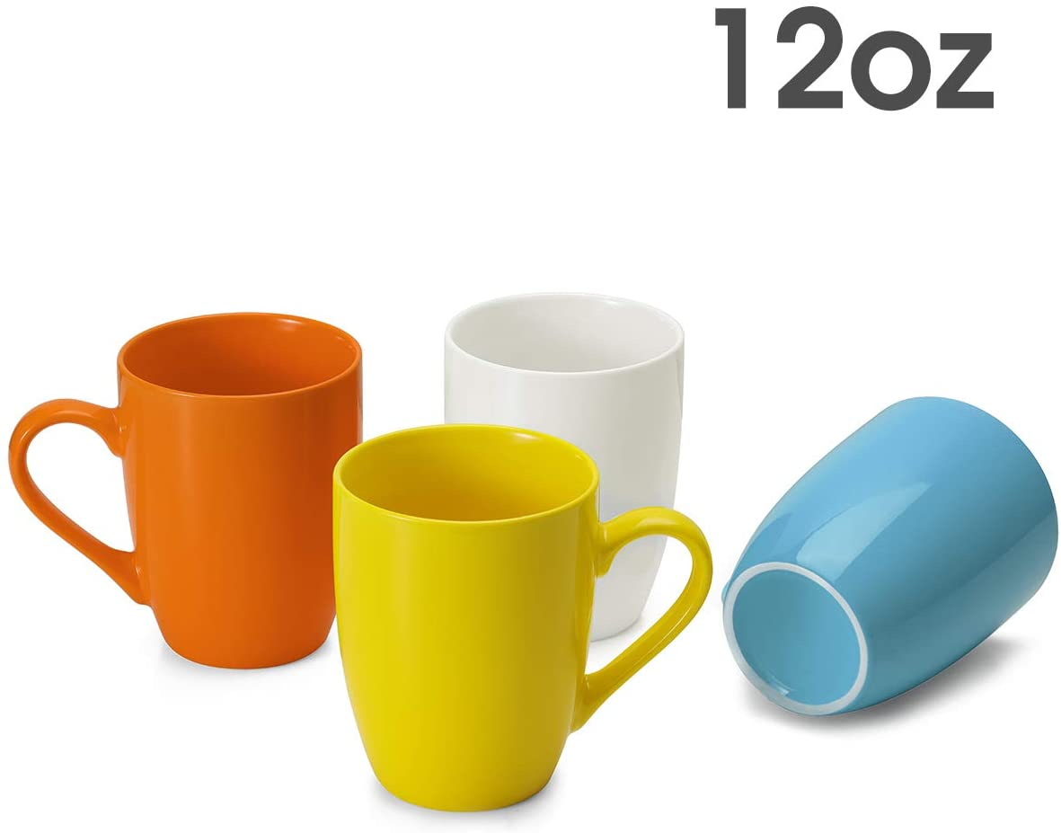 MEWAY Color Porcelain Mugs - 12 Ounce Coffee Cup Set for Coffee,Tea,Milk,Set of 4,Bright and Fresh Colors1
