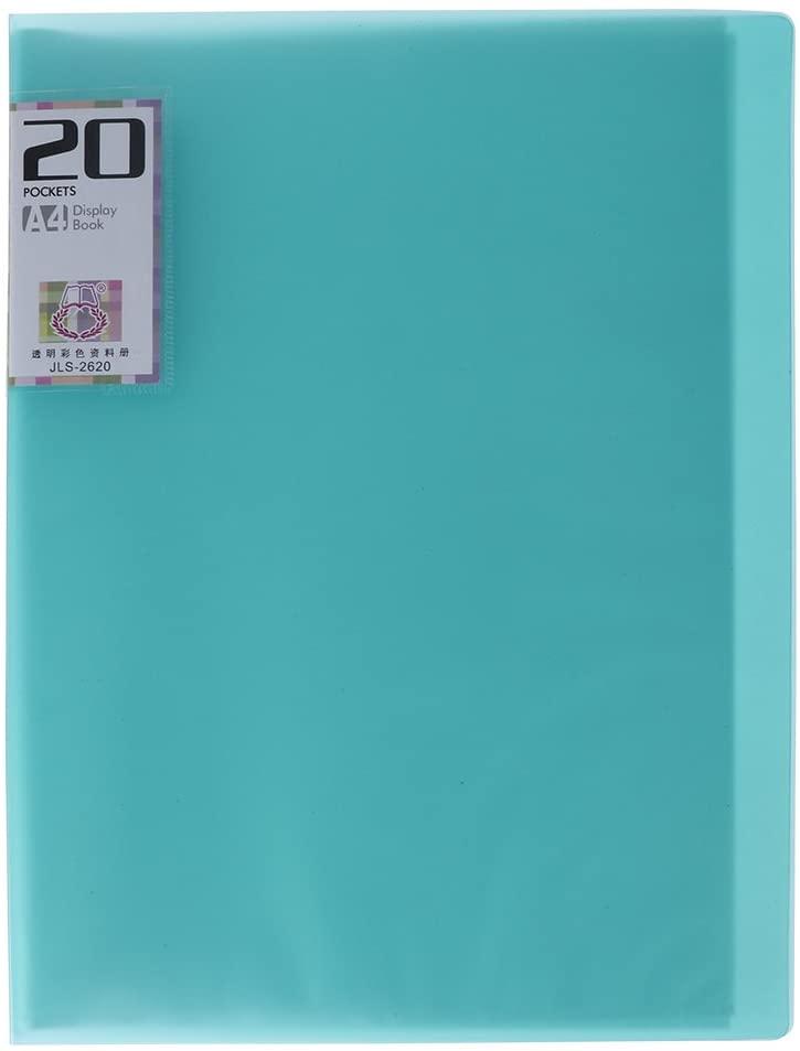 TOYMYTOY 20-Pocket Bound Sheet Protector Presentation Book,A4 Folder Insert Test Paper Booklet (Green)